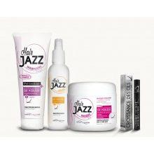 HAIR JAZZ šampūns, losjons, maska + serums skropstu augšanai